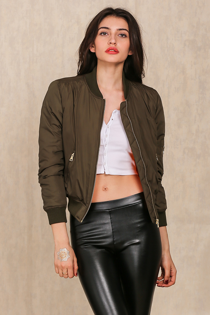 Winter Parkas Cool Basic Bomber Jacket Women Army Green Down Jacket