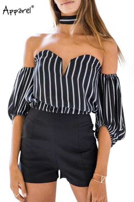 Black and White Stripes Choker Off-The-Shoulder Chiffon Blouse
