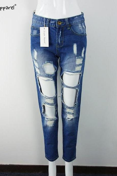 Heavily Ripped Mid Rise Straight Fit Jeans