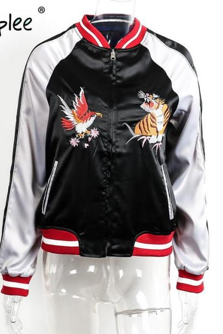 Black Satin Bomber jacket Featuring Eagle and Tiger Embroidery