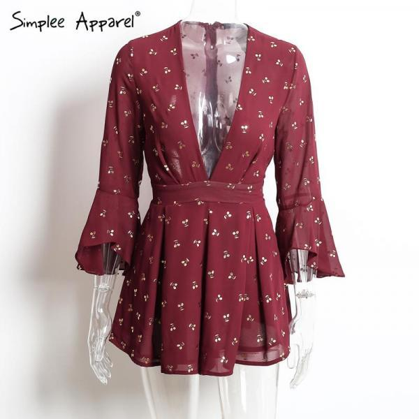 Burgundy Cherry Print Chiffon Plunge V Romper Featuring Ruffled Sleeves